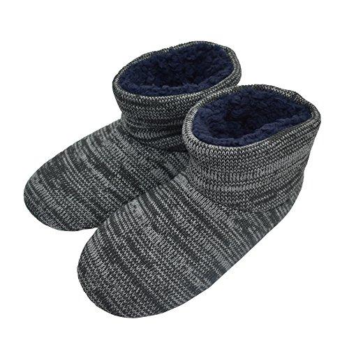 MStar Herren Hochwertige Gefütterte Hausschuhe Warme Rutschfest Winter Hüttenschuhe für Outdoor/Indoor