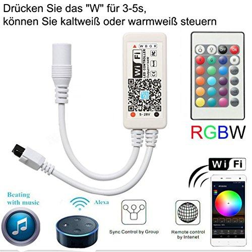 Mini RGBWW/RGBCW Led Streifen Kontroller mit Alexa,Wifi/App gesteuert,Fernbedienung Steuerung Controller Arbeiten,16 Millionen Farben,20 Dynamische Modi,Sound Aktiviert, Statische Farbwechsel Sound Aktiviert Led-licht