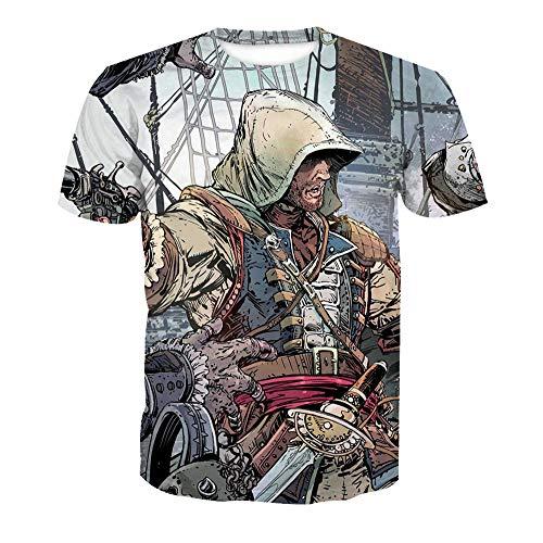 JlLianT Anime Cosplay 3D T-Shirt Rundhals Unisex Kurzarm-Shirt Assassin's Creed S
