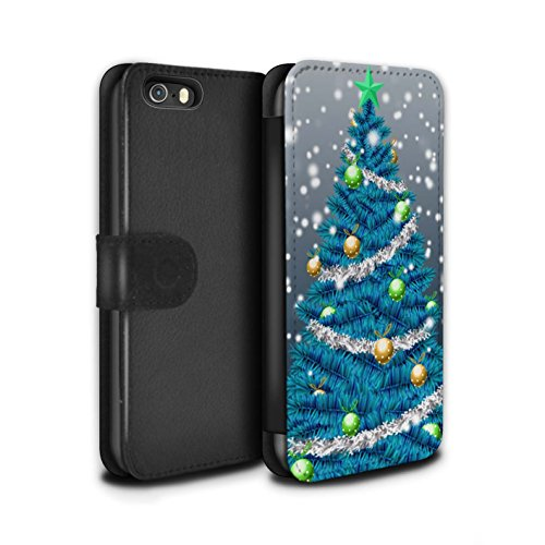 Stuff4 Coque/Etui/Housse Cuir PU Case/Cover pour Apple iPhone 5/5S / Pack 5pcs Design / Sapin/Arbre de Noël Collection Bleu