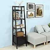 SoBuy® FRG116-K-Sch Bibliothèque Étagère style échelle de 4 niveaux et 1 tiroir –Noir