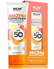 WOW AM2PM SPF50 Water Resistant No Parabens & Mineral Oil Sunscreen Lotion, 100ml