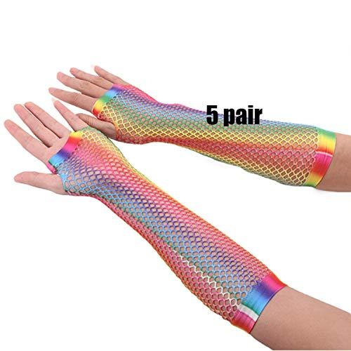 Regenbogen Fischnetz Handschuhe - Yangxz Fischnetz Handschuhe Fingerlose Ellenbogen Lange