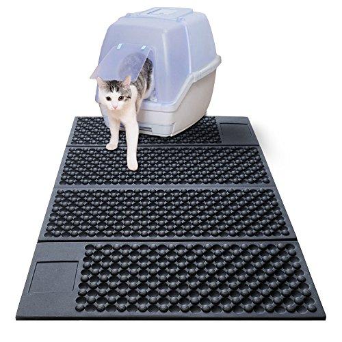 Unterlage für Katzenklo Katzentoilette Vorleger Katzenklo Matte Katzenstreu Matte für Katzen Extragroße Doppelte Struktur Matte Wasserdicht Schwarz (B-Hellschwarz)