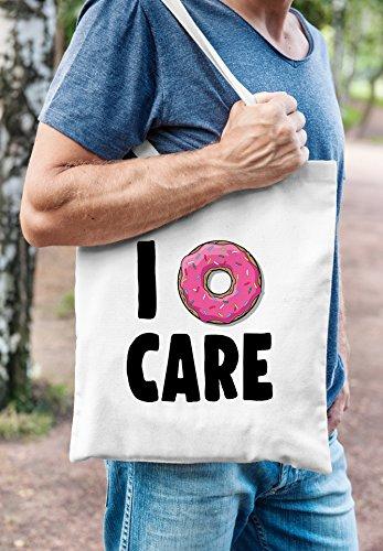 Jutebeutel I Donut care I do not care don´t care Baumwolltasche Stoffbeutel Tragetasche Moonworks® weiß 2 lange Henkel Donut Care 1 Weiß