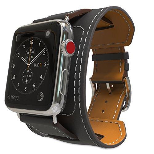 MoKo Armband für Apple Watch 42mm Series 3/2 / 1, Cuff Lederarmband Wrist Band Uhrband Uhrenarmband Erstatzband mit Schnalle und Mentallschließe für Apple Watch Nike+ 42mm 2017, Schwarz