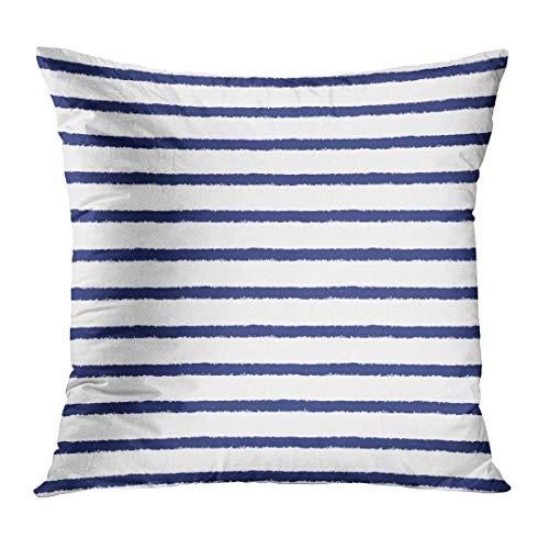 vbndfghjd Throw Pillow Cover Pinstripe Brush Drawn Sailor Stripes Pattern Rough Edges Navy Blue and White Striped Vest Strip Seaman Decorative Pillow Case Home Decor Square 20x20 Inches Pillowcase