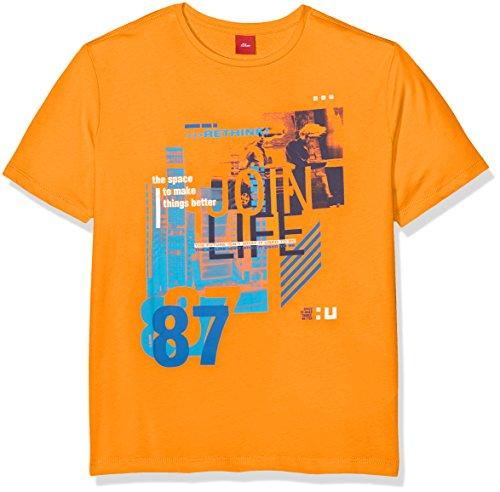 s.Oliver Jungen T-Shirt 61.802.32.6077, Orange (Orange 2302), 140 (Herstellergröße: S/reg)