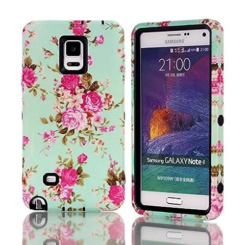 Galaxy Note 4 Hülle, FIREFISH Hybrid-Rüstung Cover Double Layer Schutz Schockbeweis Shell [Anti Slip] Premium Durable PC und Silikon Back Shell für Samsung Galaxy Note