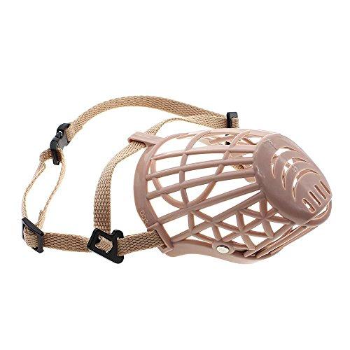 VANKER Nueva perro de mascota de plástico ajustable Bozal de protección de la máscara de la boca jaula del acoplamiento # 3