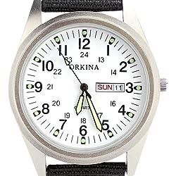 Orkina Mens White Dial Quartz Nylon Date Day Fabric Band Wrist Watch P104CA-SW