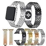 TINERS Confezioni Compatibili con Cinturino in Acciaio Inossidabile iWatch 4 Generation per Cinturino Apple Watch Cinturino in Maglia Rigida 38mm 40mm 42mm 44mm,Gold,42mm/44mm