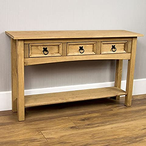 Home Discount Corona 3 Drawer Pine Console Table With Shelf Solid Waxed Pine Mexican Furniture