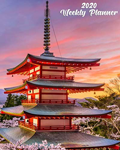 2020 Weekly Planner: Pretty Daily 2020 Planner, Organizer & Schedule Agenda with Holidays, Inspirational Quotes, To-Do's, Vision Boards & Notes - ... Blossoms, Chureito Pagoda & Mt. Fuji, Japan