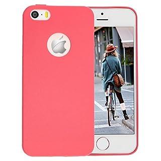 iPhone SE Hülle,iPhone 5 / 5S Schützhülle,Allbuymall Geschmeidig TPU Flexibele Schutzhülle [Candy Pure] Durchsichtige Rückschale und TPU Bumper für Apple iPhone SE / 5S / 5,(4 Zoll)(Rot)