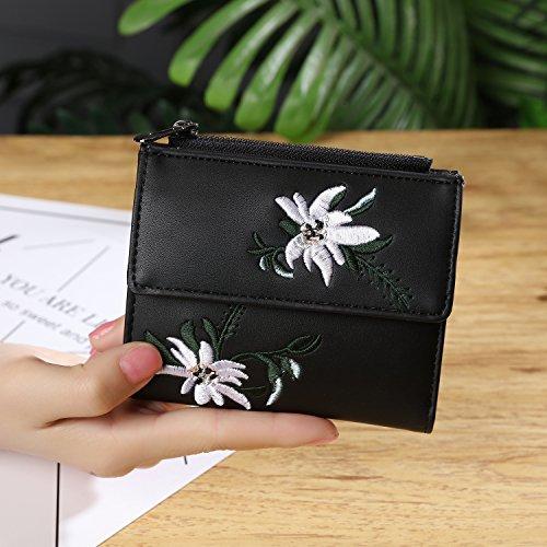 Schwarz Gestickte Brieftasche (OME&QIUMEI Lady Wallet_2 Kurzer Reißverschluss Gestickte Brieftasche Kurzes Geld Brieftasche (11,5 Cm * 9,5 Cm * 2 Cm), Schwarz)