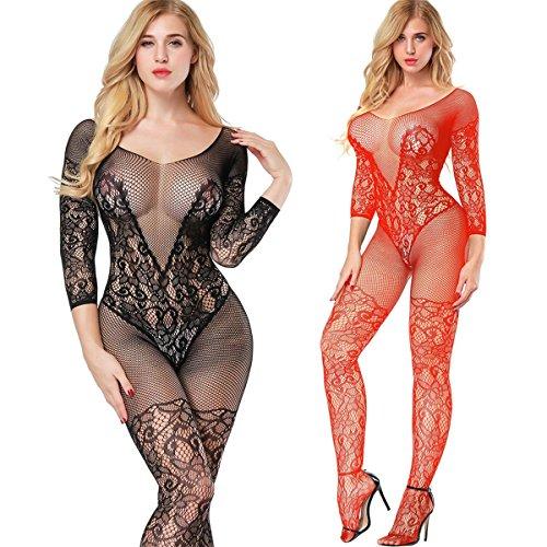 LOVELYBOBO 2-Pack Damen Bodystocking Netz Dessous Body Übergröße Bodysuit Nachtwäsche Dessous (schwarz+rot)
