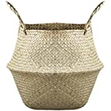 Vosarea Natural Woven Seagrass Basket with Handles for Storage Laundry Picnic Plant Pot Cover Size L