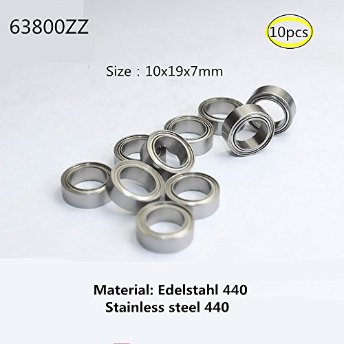 63800zz 10x19x7mm Edelstahl 440 Lager Miniaturlagern Rillenlager fü Motor Werkzeuge Ausrüstung Miniaturmotor 10-Pcs ( (63800ZZ) -