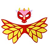 BESTOYARD Drachen Kostüm Maske und Flügel Kinder Halloween Dinosaurier Dragon Cosplay Set (Gelb)