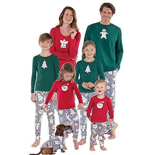 Haodasi Weihnachten Familien Schlafanzug Set, 2 Stück Nachtwäsche mit Musterdruck Elternteil-Kind Pyjama Sleepwear (Ganze Für Die Familie Pjs)
