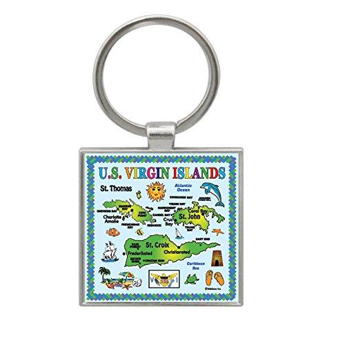 karibischen Inseln blau Karte sortiert Souvenir Metall Schlüssel Ketten 5,1x 5,1cm U.S Virgin Islands ()