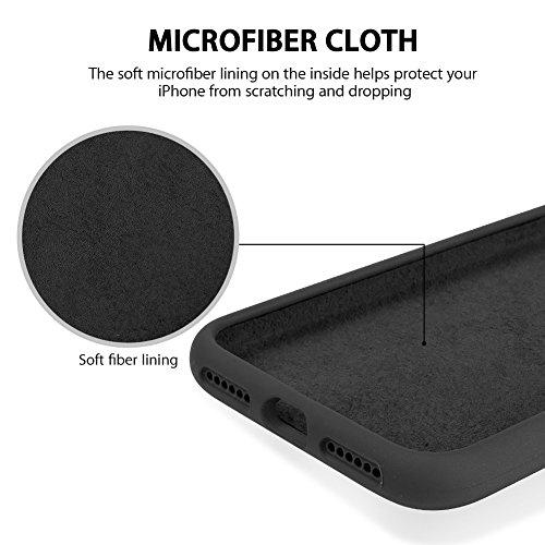 "iPhone 8 Hülle, Fuleadture iPhone 7 Liquid Silikon Schutzhülle Flüssigsilikon Mikrofaser Case Cover für iPhone 7/ 8 4,7"" Schwarz"
