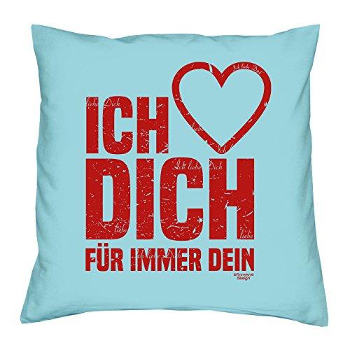 Soreso Design Geschenk Kissen :: Ich Liebe Dich :: Geschenkidee für Frauen & Männer :: Kissen 40 x 40 cm inkl. Füllung Farbe: hellblau