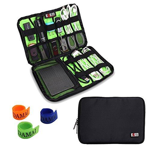 Damai Tragbare Reisetasche für Electronisches Zubehöre Tasche Case Tragetasche Wasserdicht für USB Drive Shuttel, Festplatte, Kabel und sonstiges Zubehör (Schwarz) (Schwarze Microfaser-handtasche)