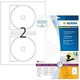 Herma 8624 CD DVD Etiketten blickdicht (Ø 116 mm, Innenloch klein) weiß, 20 Aufkleber, 10 Blatt DIN A4 Papier matt, Zentrierhilfe, bedruckbar, selbstklebend