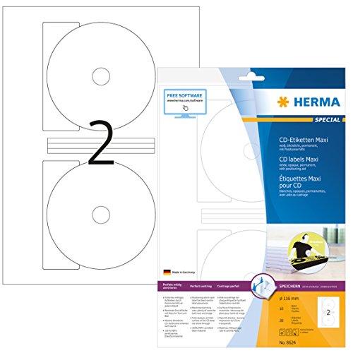 HERMA 8624 CD-Etiketten inkl. Positionierhilfe DIN A4 blickdicht (Ø 116 mm MAXI, 10 Blatt, Papier, matt) selbstklebend, bedruckbar, permanent haftende CD-Aufkleber, 20 Klebeetiketten, weiß (Cd-cover-etiketten)