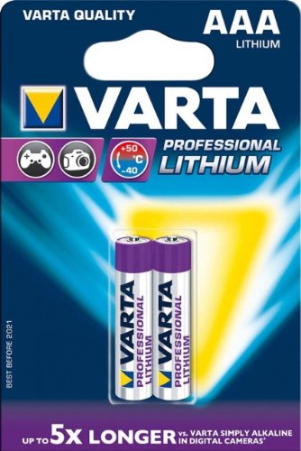 Varta 2 x 1.5 V piles AAA Lithium 1.5 V - non-rechargeable Batteries (Lithium, Cylindrical, AAA, 80 x 12 x 120 mm)