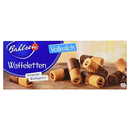 Bahlsen Waffeletten Vollmilch, 100 g - knusprige Waffeln mit Schokolade - Gebäck in der Faltschachtel - Schokokekse zum Kaffee