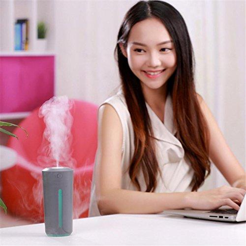 wuayi USB Auto Luftbefeuchter Air Filter Lufterfrischer Diffuser Luftreiniger Zerstäuber 7Farbe Romantische Stimmung Nacht-Licht für Zuhause/Büro/Auto, grau, 6.8*6.8*14.5cm/2.6 * 2.6 * 5.7inches (Programmierbare Lufterfrischer)