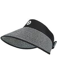 92f3720b54e FENGFA Women Straw Cap Visors Sun Hat Summer Fold Large Brim Empty Top  Beach Caps