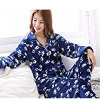WYIKAI Pijamas El Sello Azul Suelto Fuera De La Camiseta Mujer Pijama Gruesa Franela Establece 2Pedazo Pijama Longsleeved Home,XXL