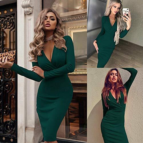 WDJYNL Kleid Kleid Damen Sommer T-Shirt Mit V-Ausschnitt Verband Deep V-Neck Kleid Abend Party Knie Länge Feste Kleidung, XXL -