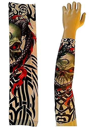 Modello - manicotto tattoo - indossabile - manica - tatuaggio finto - immagine - teschio e drago - tatoo - mezza manica - tribale - idea regalo per natale e compleanno - w36