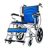 Transportwagen Rollstuhl Rollstuhl aus Aluminiumlegierung Rollstuhlwagen für ältere Personen Klappbarer Rollstuhl Kann 100 kg Tragen (Color : Blue, Size : 88 * 80 * 59cm)