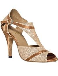 Zapatos De Mujer Sandalias De Baile Latino Salsa De Cuero Samba Tango Ballroom Abrir Dedo Del Pie Soft Soles Hebilla De Oro Tacones Altos . A . 36