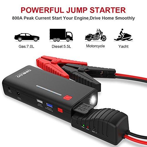 GOOLOO Auto Starthilfe 800A 18000mAh SuperSafe Autobatterie Anlasser Sofort Starthilfe Externer Akku Ladegerät mit 2 USB Ausgänge(Quick Charge 3,0 und EIN 5V/2,1A) LED