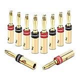 UGREEN Bananenstecker Lautsprecher Bananen Stecker für 5.3mmBananen Kabel mit 24k vergoldet Schwarz und rot 10Stücks