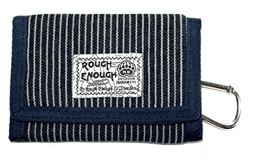 Rough Enough vintage denim blu Stripes mini portafoglio in tela