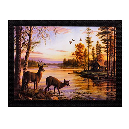 eCraftIndia 'Deer's Drinking Water' Matt Textured Framed UV Art Painting (Synthetic Wood, 35.55 cm x 1.27 cm x 27.93 cm)