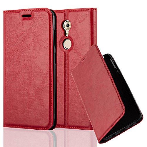 Cadorabo Hülle für ZTE AXON 7 Mini - Hülle in Apfel ROT – Handyhülle mit Magnetverschluss, Standfunktion und Kartenfach - Case Cover Schutzhülle Etui Tasche Book Klapp Style