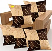 FAB NATION Silk Embroidery Cushion Covers (16x16 Inches, Brown) - Set of 5
