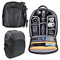 DURAGADGET 14 inch Padded Camera Rucksack Backpack Bag - Suitable For Canon EOS and PowerShot Range - Now with Rain Cover!