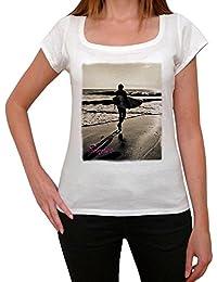 Beach surfer sunrise T-shirt Femme,Blanc, t shirt femme,cadeau