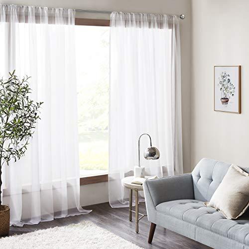 hite Voile Vorhänge Wohnzimemr Transparent Vorhang für Fenster Amari (2x H/B: 245/140 cm) ()