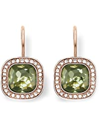 "Thomas Sabo ""Green Cosmo"" Gold Plated Rose Gold Synthetic Spinel Zirconia Earrings"